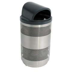 55 Gallon Perforated Metal Trash Can with 2-Way Resin Lid