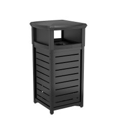 30 Gallon Outdoor Decorative Metal Square Trash Can with 2-Way Lid