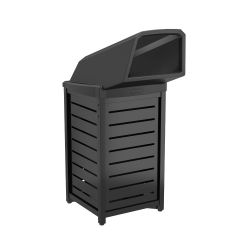 30 Gallon Outdoor Decorative Metal Square Trash Can with Chute Lid