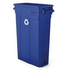 23 Gallon Resin Slim Trash Can with Handles - Blue